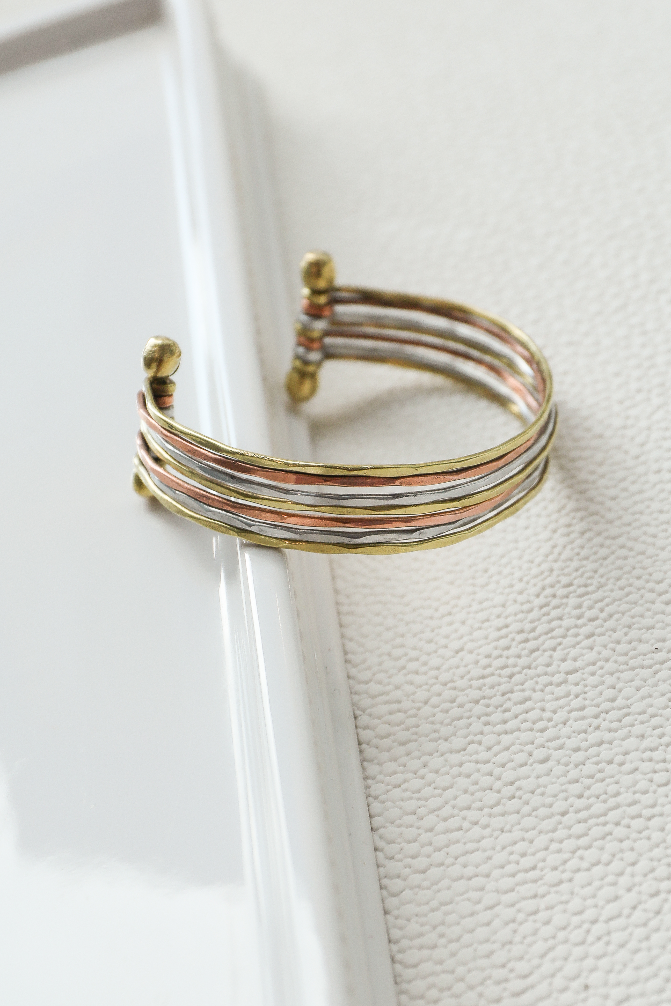 Gold Silver and Bronze Hammered Cuff Bracelet