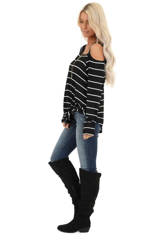 Black and Off White Striped One Shoulder Long Sleeve Top side full body