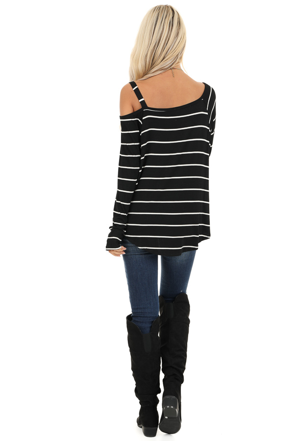 Black and Off White Striped One Shoulder Long Sleeve Top back full body