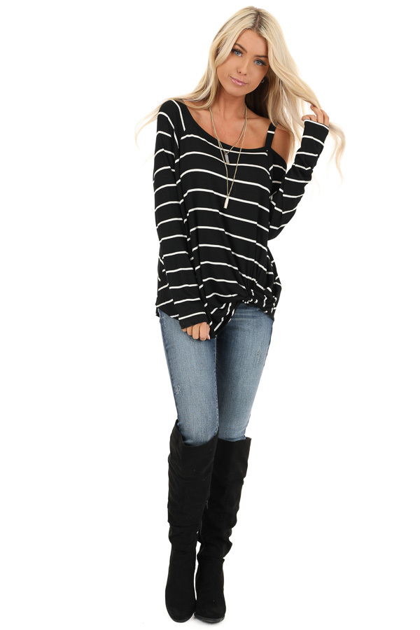 Black and Off White Striped One Shoulder Long Sleeve Top front full body