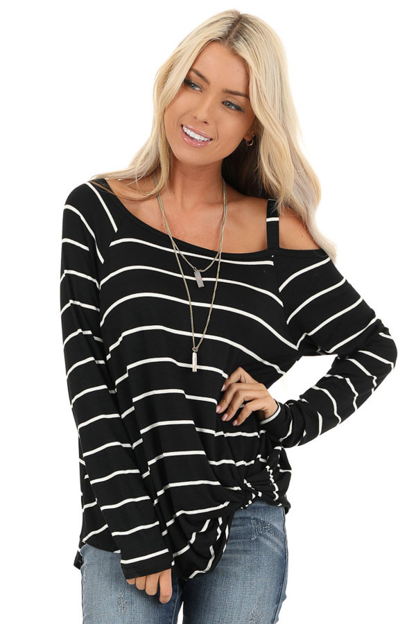 Black and Off White Striped One Shoulder Long Sleeve Top front close up