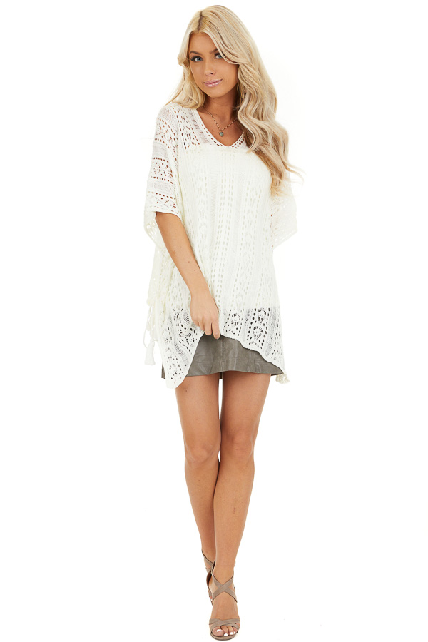 Ivory Sheer Crochet Top with Side Ties and Short Sleeves front full body