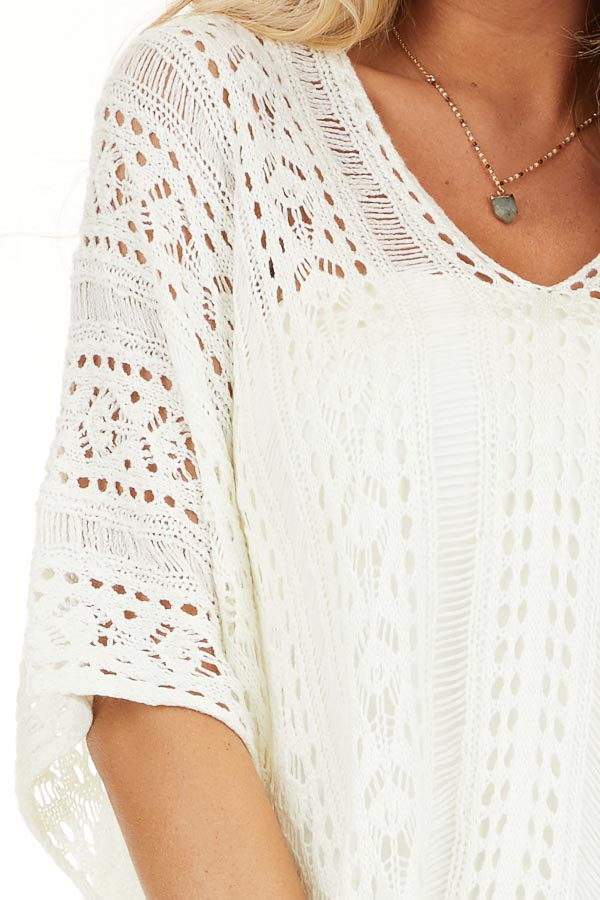Ivory Sheer Crochet Top with Side Ties and Short Sleeves detail