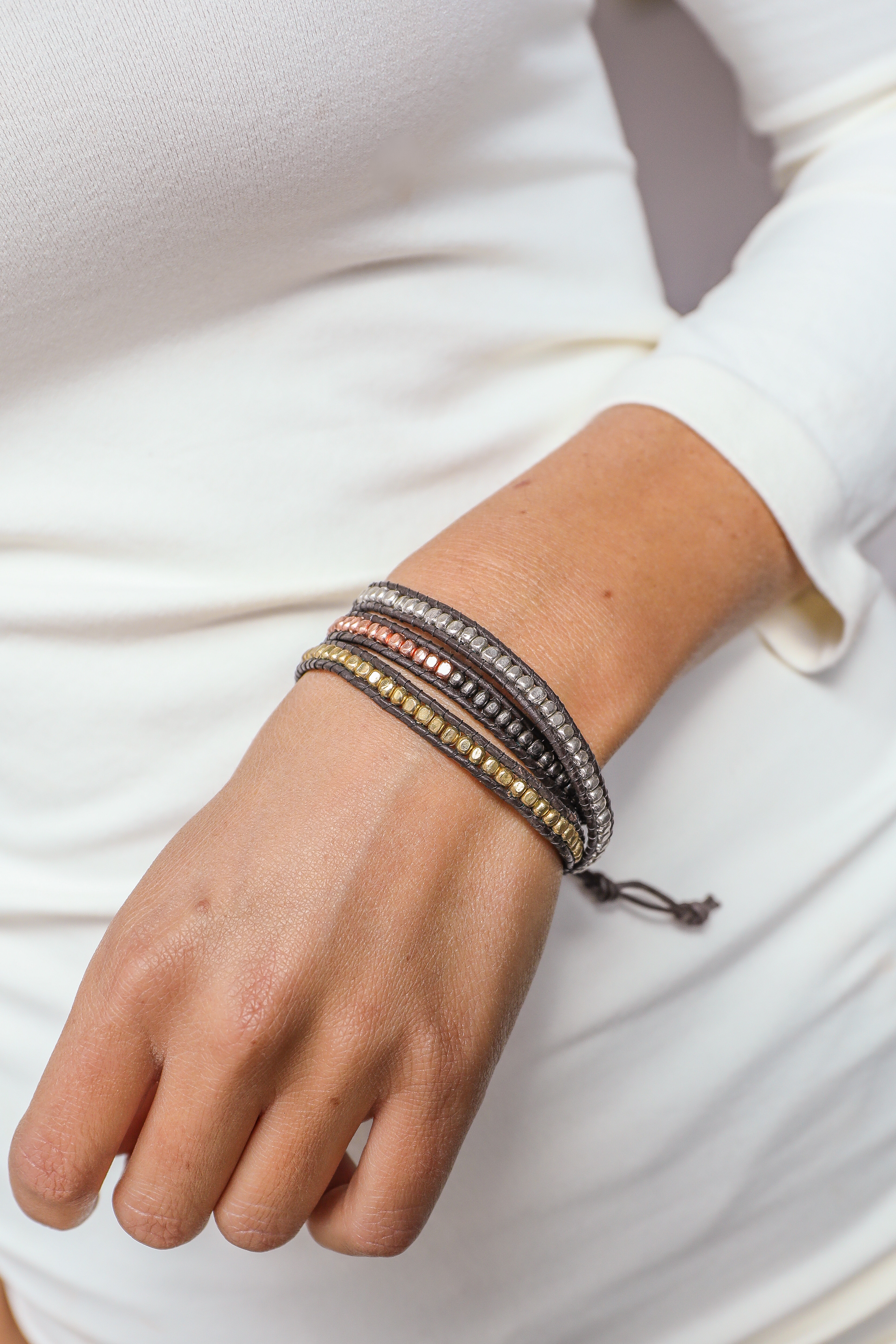 Chocolate Brown Wrap Bracelet with Metallic Bead Detail
