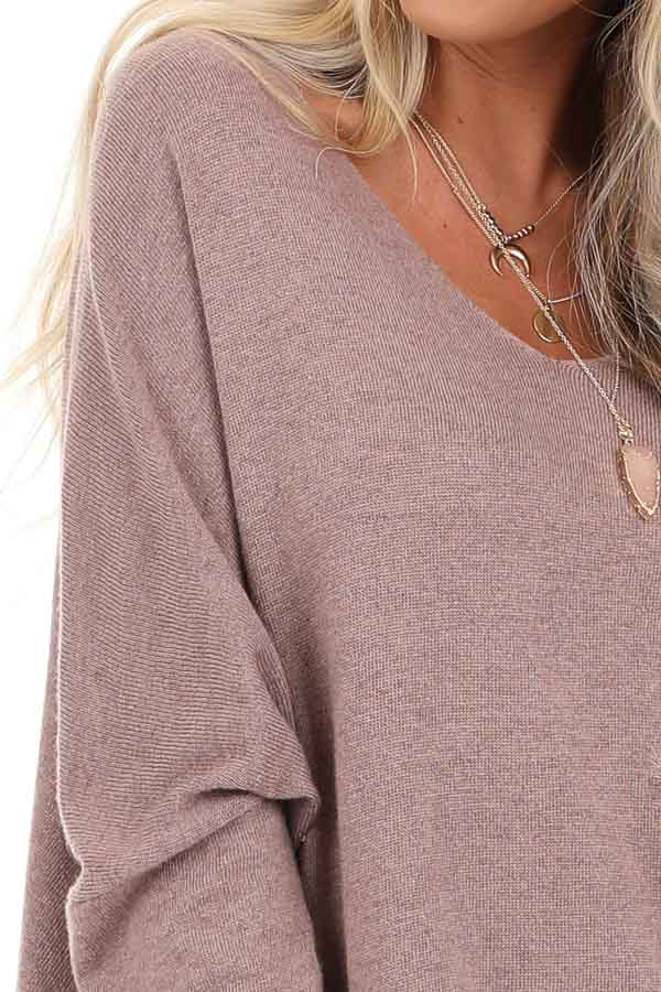 Dusty Mauve Long Sleeve Top with V Neckline and High Low Hem detail