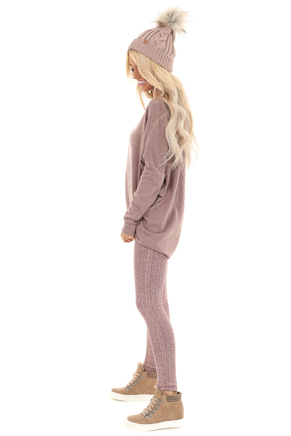 Dusty Mauve Long Sleeve Top with V Neckline and High Low Hem side full body