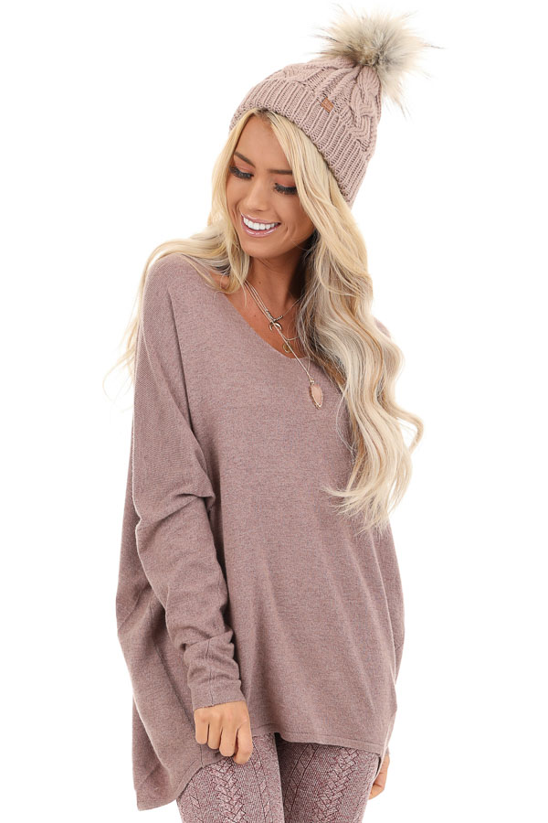 Dusty Mauve Long Sleeve Top with V Neckline and High Low Hem front close up