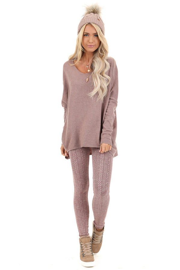 Dusty Mauve Long Sleeve Top with V Neckline and High Low Hem front full body