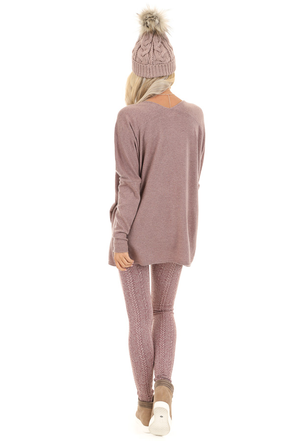 Dusty Mauve Long Sleeve Top with V Neckline and High Low Hem back full body