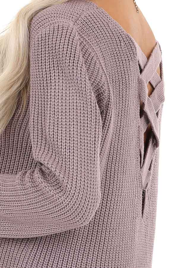 Lavender Knit Lightweight Sweater with Criss Cross Back detail