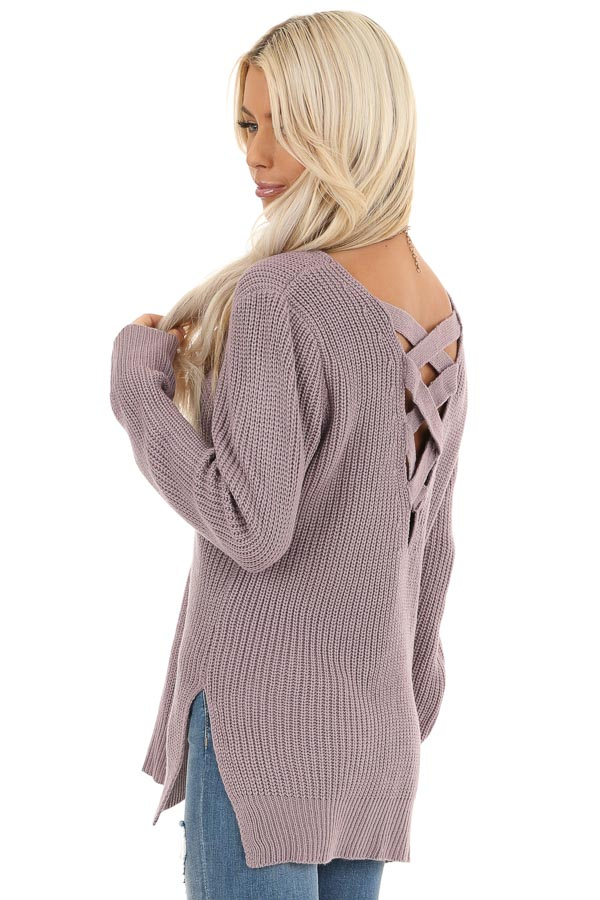 Lavender Knit Lightweight Sweater with Criss Cross Back back side close up