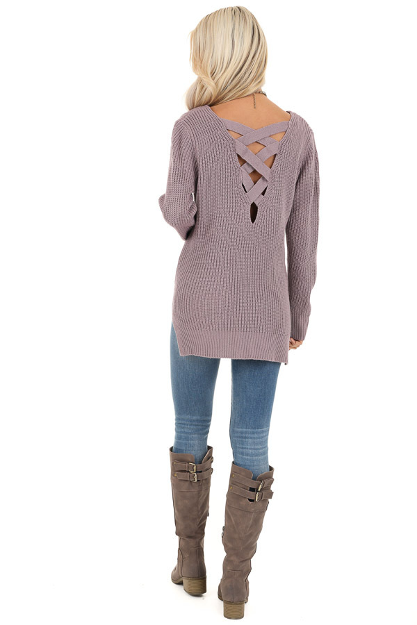 Lavender Knit Lightweight Sweater with Criss Cross Back back full body