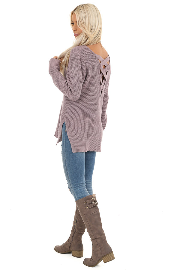 Lavender Knit Lightweight Sweater with Criss Cross Back side full body