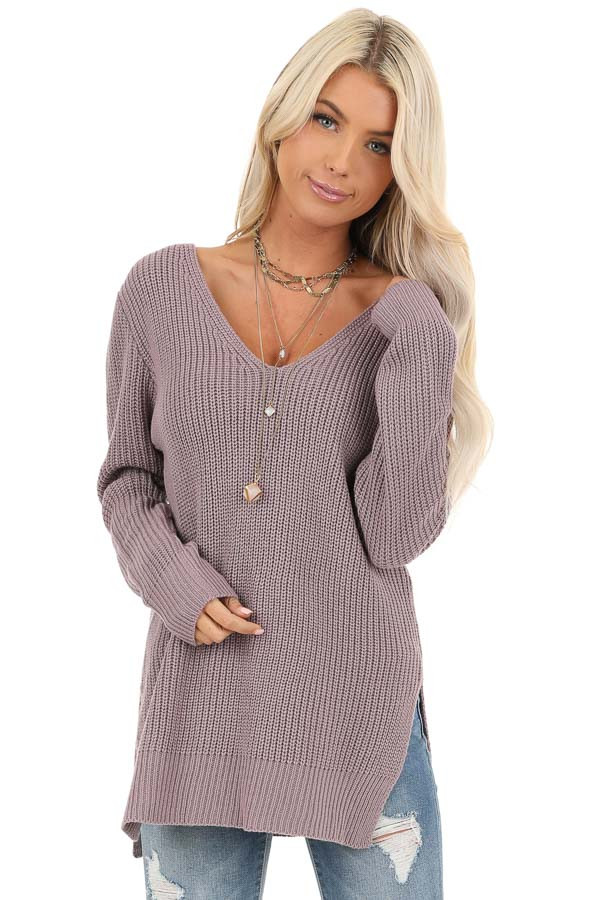 Lavender Knit Lightweight Sweater with Criss Cross Back front close up