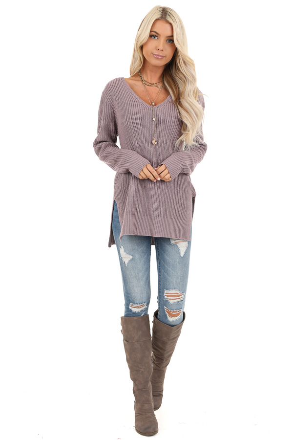 Lavender Knit Lightweight Sweater with Criss Cross Back front full body