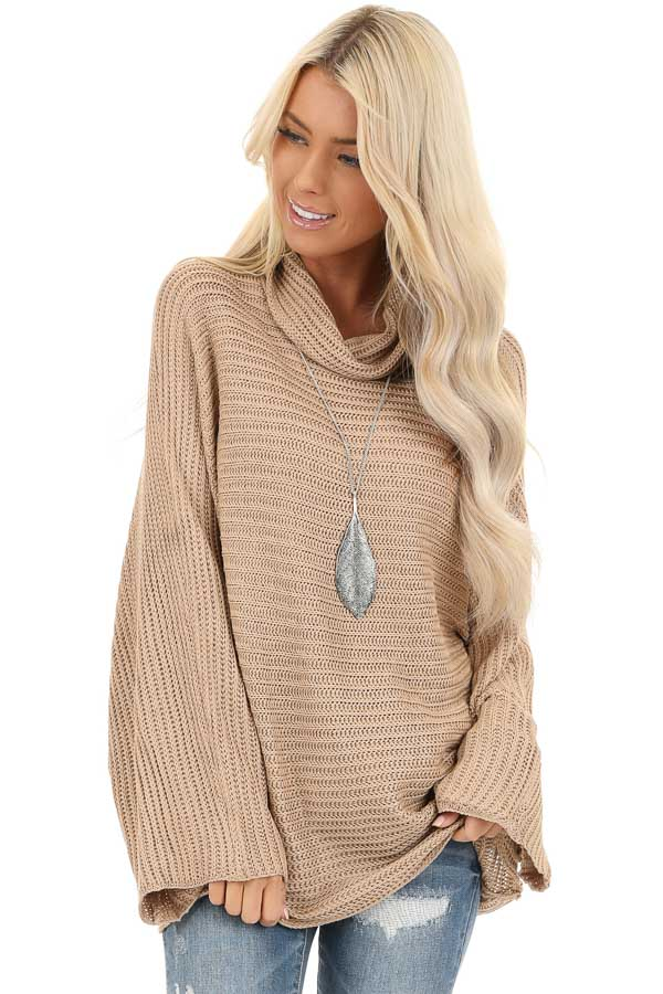 Khaki Cowl Neck Sweater Top with Long Bell Sleeves front close up