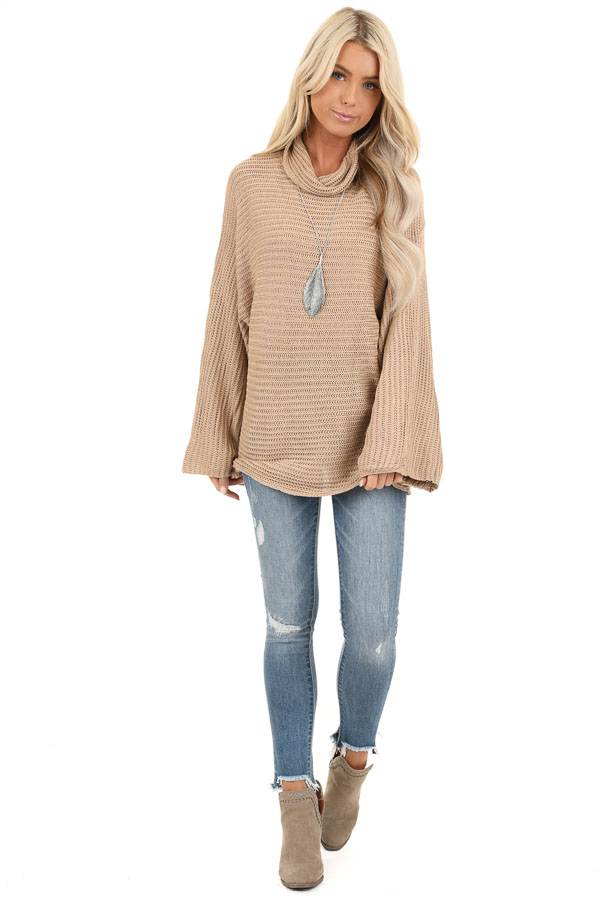 Khaki Cowl Neck Sweater Top with Long Bell Sleeves front full body