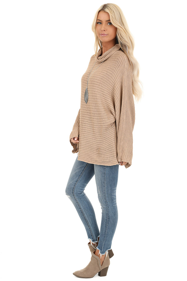 Khaki Cowl Neck Sweater Top with Long Bell Sleeves side full body
