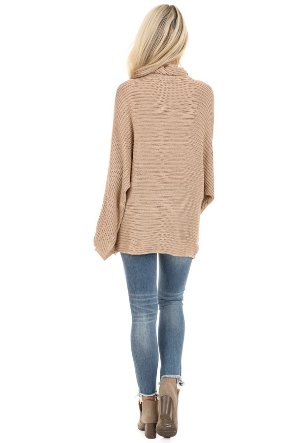 Khaki Cowl Neck Sweater Top with Long Bell Sleeves back full body