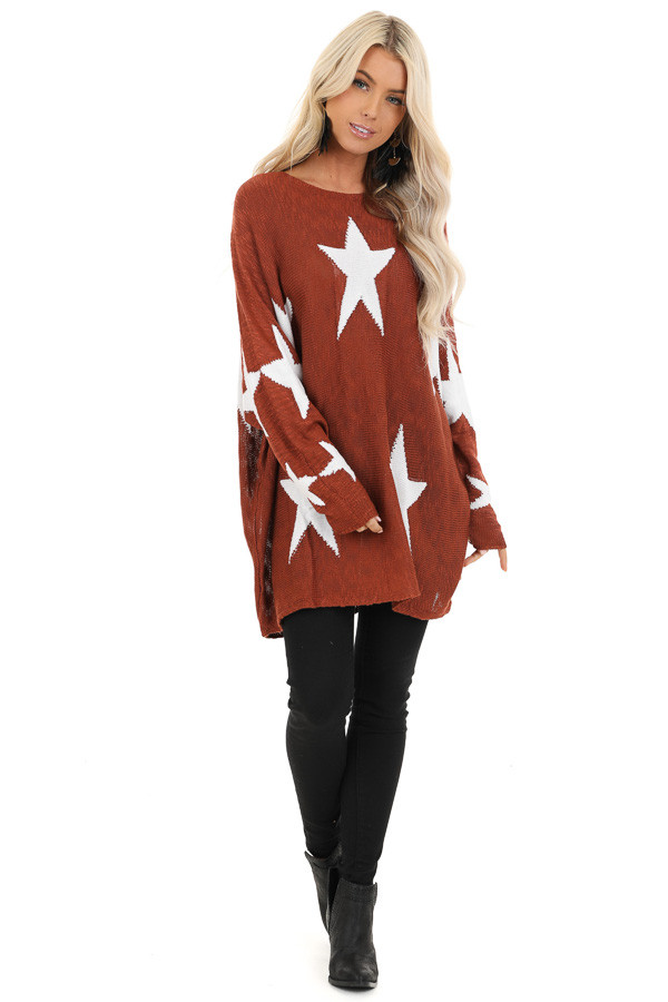 Deep Rust Star Patterned Long Sleeve Knit Sweater front full body