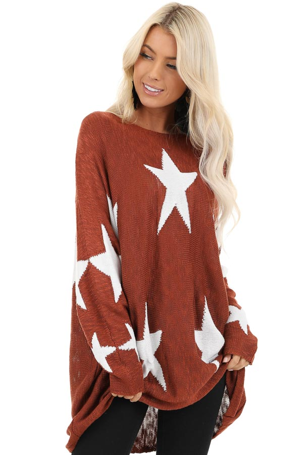 Deep Rust Star Patterned Long Sleeve Knit Sweater front close up
