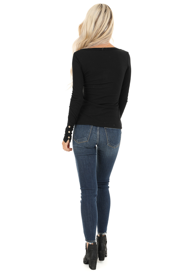 Black Textured Long Sleeve Henley Top with Button Details back full body