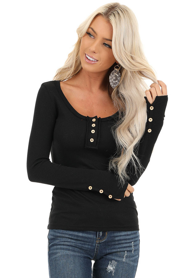 Black Textured Long Sleeve Henley Top with Button Details front close up