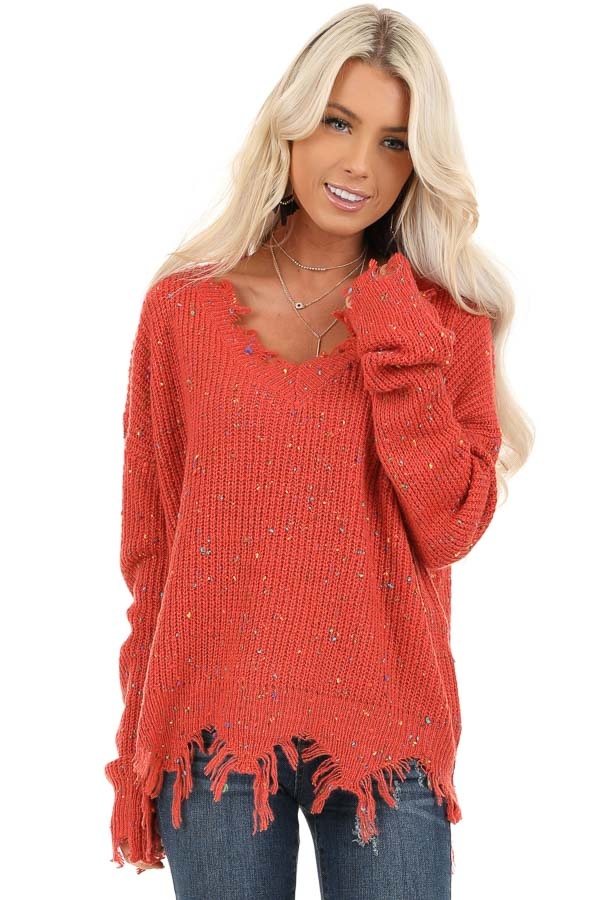 Marsala Multi Color Speckled Knit Lightweight Sweater front close up