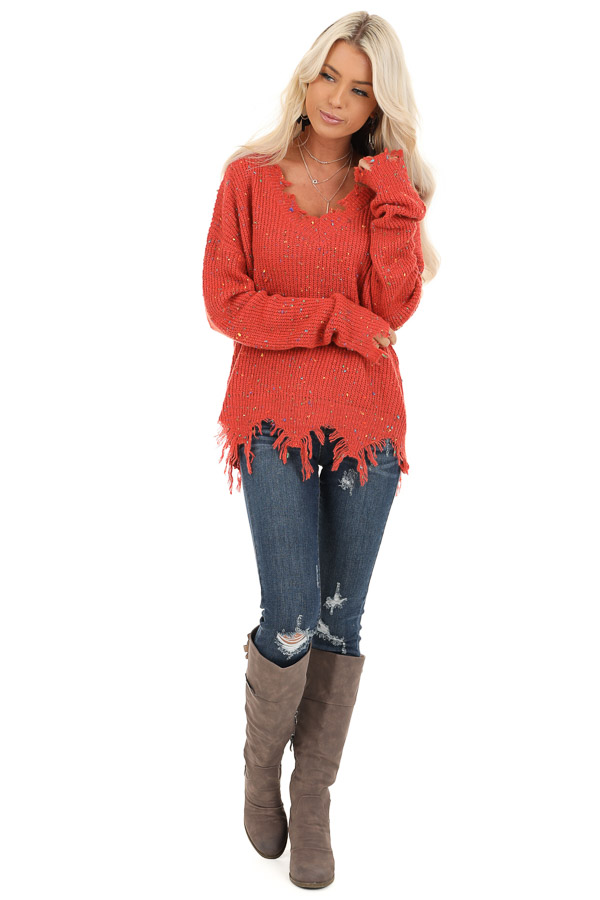 Marsala Multi Color Speckled Knit Lightweight Sweater front full body