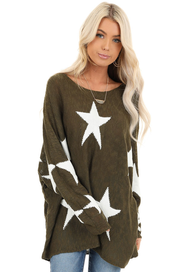 Rich Olive Star Patterned Long Sleeve Knit Sweater front close up