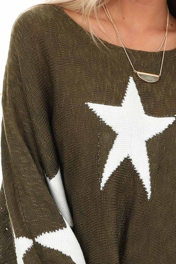 Rich Olive Star Patterned Long Sleeve Knit Sweater detail