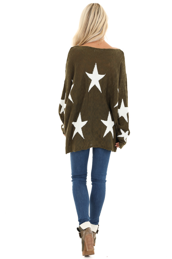 Rich Olive Star Patterned Long Sleeve Knit Sweater back full body