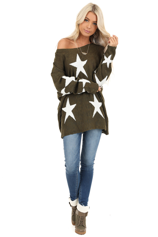 Rich Olive Star Patterned Long Sleeve Knit Sweater front full body