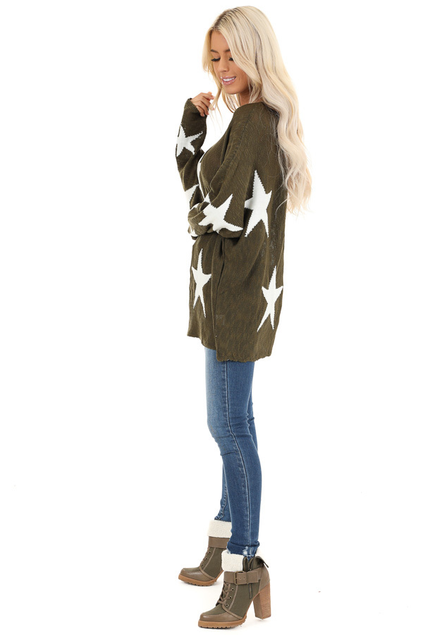 Rich Olive Star Patterned Long Sleeve Knit Sweater side full body