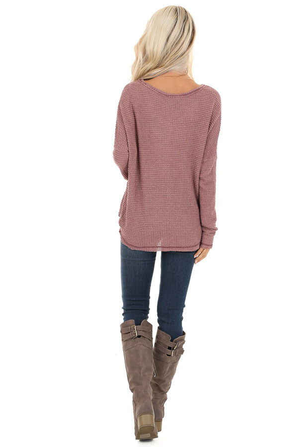 Rose Long Sleeve Waffle Knit Top with Front Twist Detail back full body