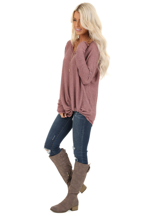 Rose Long Sleeve Waffle Knit Top with Front Twist Detail side full body