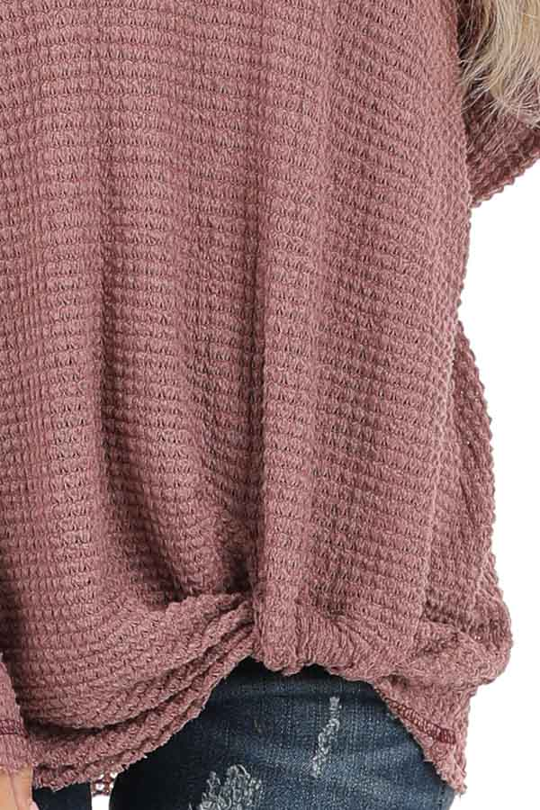 Rose Long Sleeve Waffle Knit Top with Front Twist Detail detail
