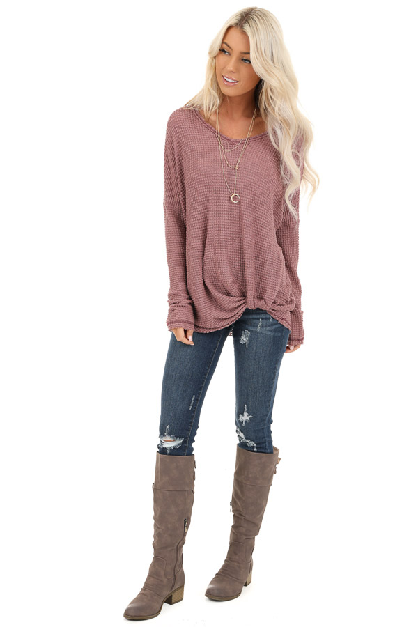 Rose Long Sleeve Waffle Knit Top with Front Twist Detail front full body