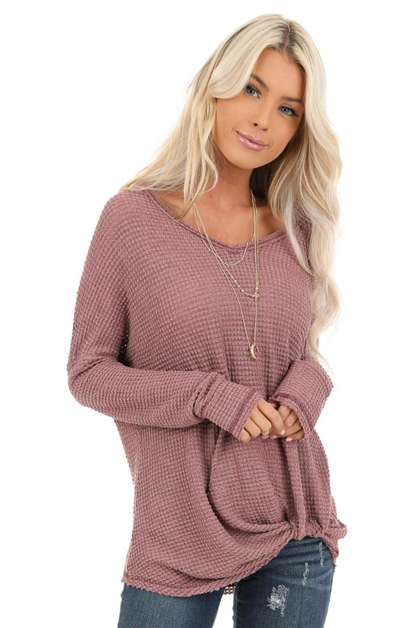 Rose Long Sleeve Waffle Knit Top with Front Twist Detail front close up