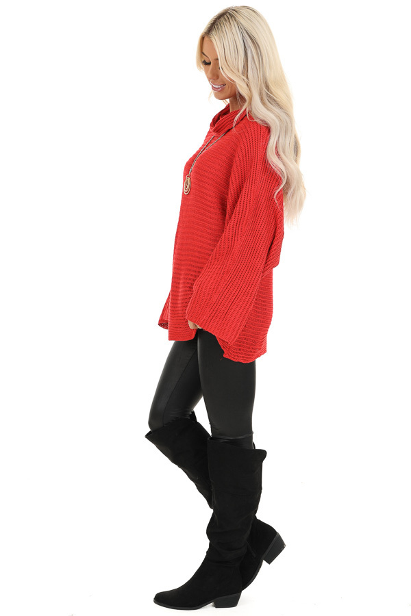 Red Cowl Neck Sweater Top with Long Bell Sleeves side full body