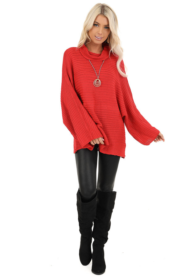 Red Cowl Neck Sweater Top with Long Bell Sleeves front full body