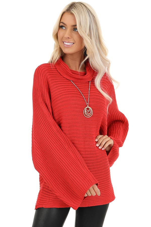 Red Cowl Neck Sweater Top with Long Bell Sleeves front close up