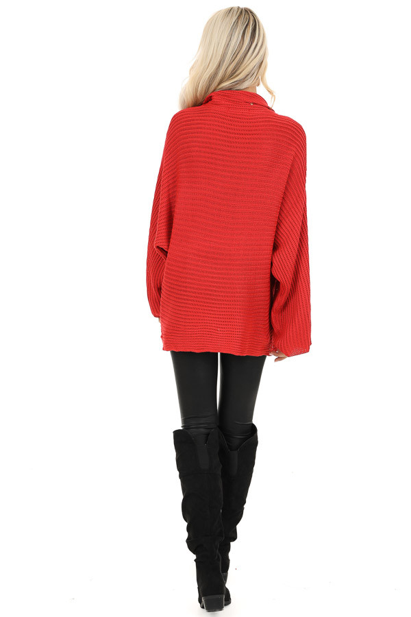 Red Cowl Neck Sweater Top with Long Bell Sleeves back full body