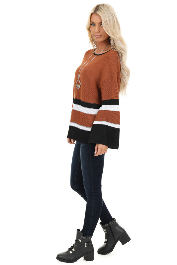 Caramel Long Sleeve Sweater with Stripe Detail side full body