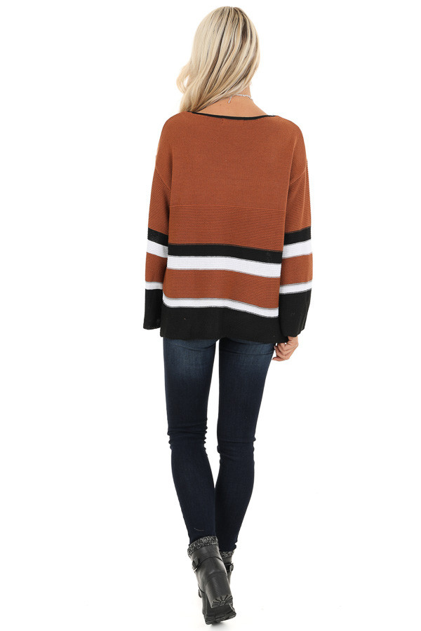 Caramel Long Sleeve Sweater with Stripe Detail back full body