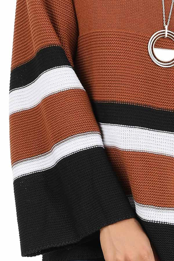 Caramel Long Sleeve Sweater with Stripe Detail detail