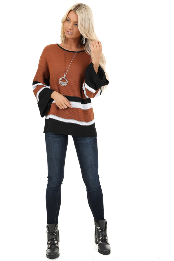Caramel Long Sleeve Sweater with Stripe Detail front full body