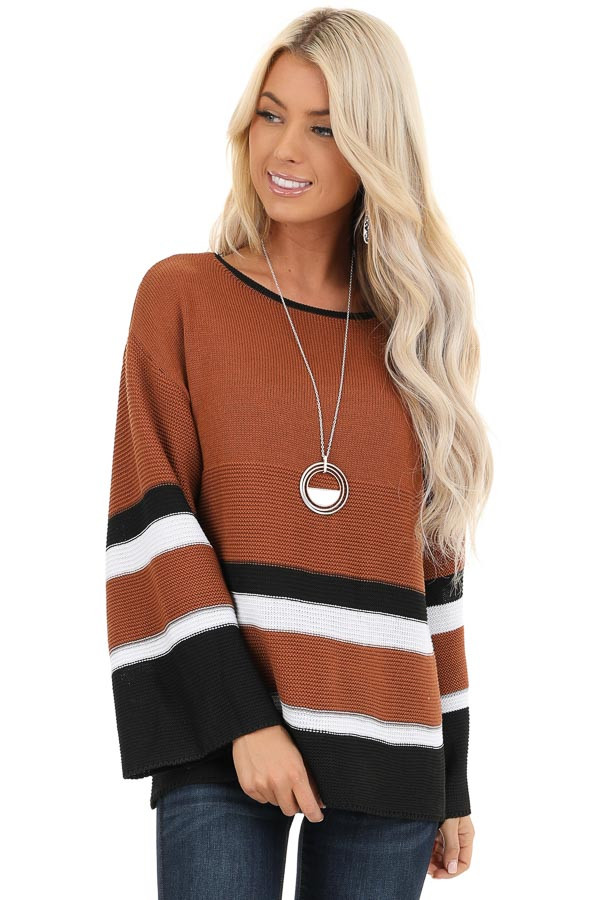 Caramel Long Sleeve Sweater with Stripe Detail front close up