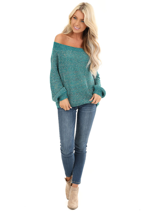 Teal Speckled Off Shoulder Lightweight Knit Sweater front full body