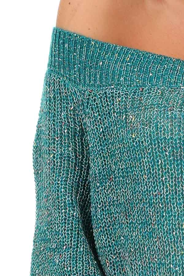 Teal Speckled Off Shoulder Lightweight Knit Sweater detail